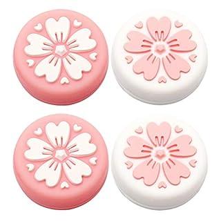 pengxiaomei 4 pcs Switch Thumb Grip Caps, Analog Sakura Grips Joystick Caps for Nintendo Switch & Lite, Soft Silicone Cover for Joy-Con Controller (Pink&White)