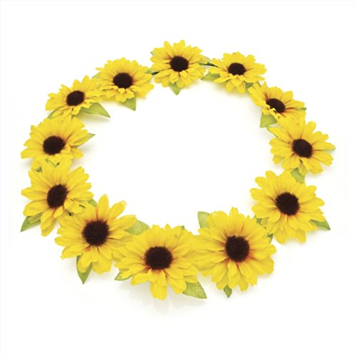Yellow Sunflower Hair Garland Crown Headband Festival by Pritties Accessories