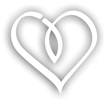 Christlicher Aufkleber Jesus Herz Fisch Weiß Sticker 10x10