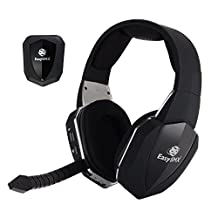 Xbox One PS4 PS3 Xbox 360 Gaming Headset, EasySMX 2.4G Optical Wireless PC Laptop Tablets Chat Skype MAC Gaming Headset Rechargeable Battery 2 Detachable Mic (A Microsoft Adapter is Needed When Used to Xbox) (Black)
