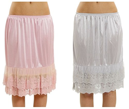 Melody Women's Double Layered Lace Satin Skirt Extender Half Slip 2 Pieces Combo (Melody Lace)