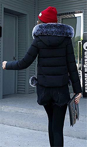Larga Ropa con Outerwear Schwarz Manga Caliente Imitación Capucha Slim Abrigo Fit De De Mujer Acolchado Espesar Acolchada Invierno Unicolor Chaqueta Chaqueta Piel aHx8StS