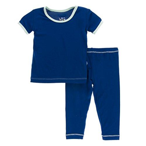 Kickee Pants Little Boys Solid Short Sleeve Pajama Set, Flag Blue With Pistachio, Boys 6 Years ()