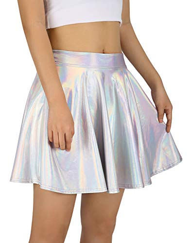 HDE Women's Shiny Liquid Metallic Holographic Pleated Flared Mini Skater Skirt (Holographic, Medium) ()