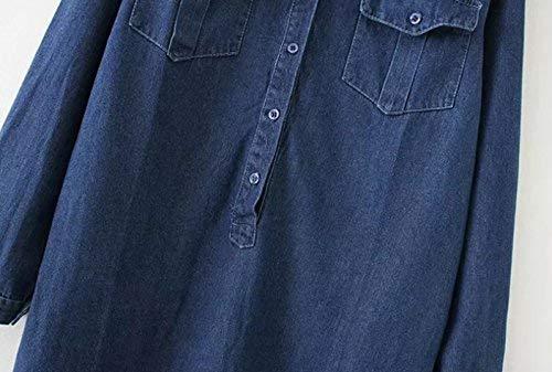 Accogliente Moda Libero Eleganti Manica Breasted Glamorous Top Semplice Primaverile Single Bluse Camicie Donna Baggy Moda Jeans Tasche Bavero Lunga Giovane Blau Anteriori Camicia Tempo Camicia q01wBzt0