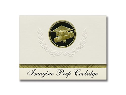 Signature Announcements Imagine Prep Coolidge (Coolidge, AZ) Graduation Announcements, Presidential style, Elite package of 25 Cap & Diploma Seal. Black & Gold.