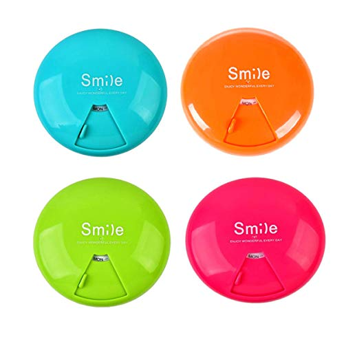 Pill Organizer Pill Case Portable Pill Container BPA-Free Pill Box 7 Day Weekly Pills Dispenser,7 Compartments Storage Container