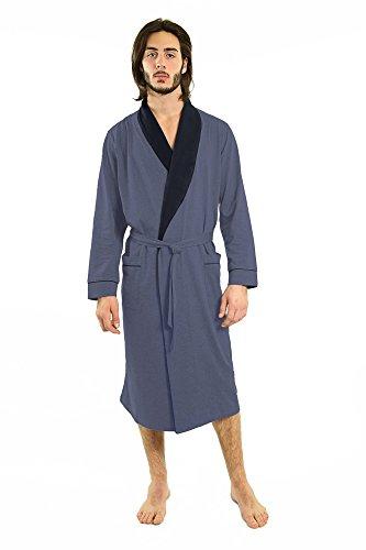 (Yugo Sport Men Robes - Pajama Men Bathrobe - Mens Cotton Robe Long – Waffle Knit – Kimono Style Robe & Pajamas (XL-XXL, Denim & Navy))