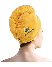 Turban ręcznik z guzikiem, super chłonny, szybkoschnący turban do włosów, do loków, długich, grubych włosów, Drying Cap, wspaniały prezent dla kobiet, czysta bawełna