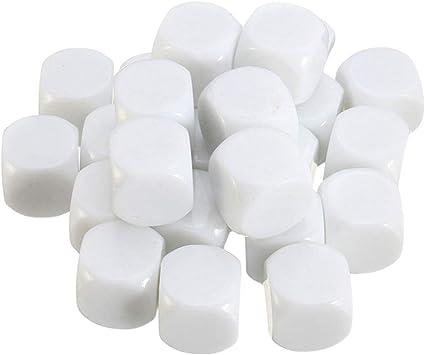 NUOBESTY Cubos de Dados Blancos en Blanco Acrílico D6 Dados para Juegos de Mesa DIY Diversión Y Matemática Enseñanza Aula Suministros 30 Piezas: Amazon.es: Juguetes y juegos
