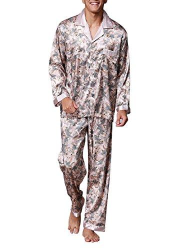 Musen Men Sleepwear Silk Pajama Set Pajama Shirt and Pant Satin Loungewear Camel XL (Pants Shirt Pajamas)