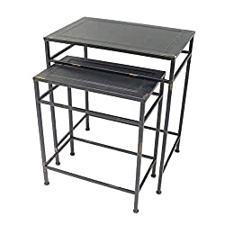 Better & Best 1401314 – Set de 2 Tables gigogne rectangulaires, Couleur Noir, Fonte, Noir, 48 x 32 x 58 cm