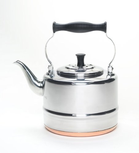 BonJour Tea Stainless Steel and Copper-Base Gooseneck Teapot / Teakettle, 2-Quart image