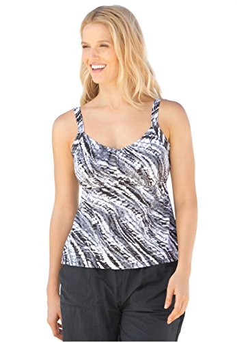 Swim 365 Women's Plus Size Print Tankini Swim Top, Black Tie Dye,18