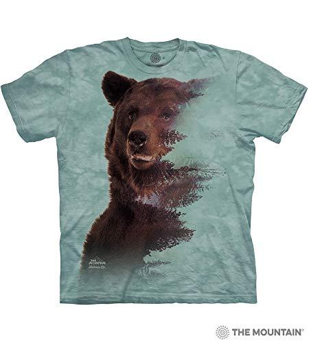(The Mountain Brown Bear Forest Adult T-Shirt, Green, Medium)
