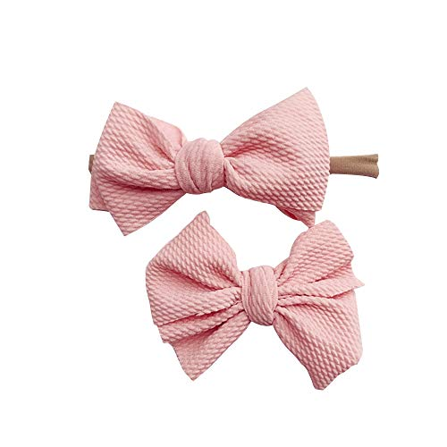 (Baby girl Solid Color Bow Elastic Headband+Hair clip 2PCS Sets Hair Accessories Headwear (Pink, One Size))