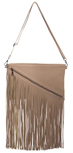 Clutch HandBags Girly Zipper Bag HandBags Apricot Fringe Girly q4fxwaZO