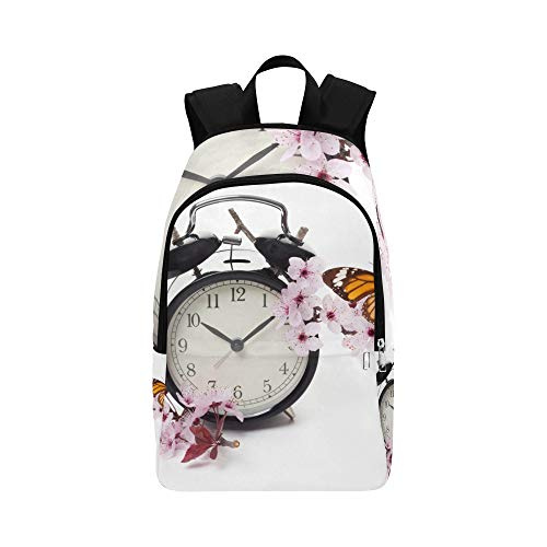 VvxXvx Clock with Blossoms and Butterfly Casual Daypack Travel Bag College School Backpack for Mens and Women Blossoms And Butterflies Clock