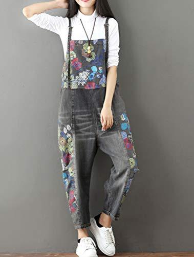 Salopette Donna fiori 11 Grigio A Stile Donna Jeans Pantaloni Vogstyle 64aCIq6