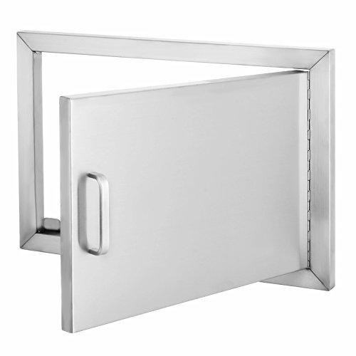 Popsport BBQ Door 14Hx20W Inch Single Access Door 304 Stainless Steel Horizontal Door with Handle for BBQ and Outdoor Kitchen