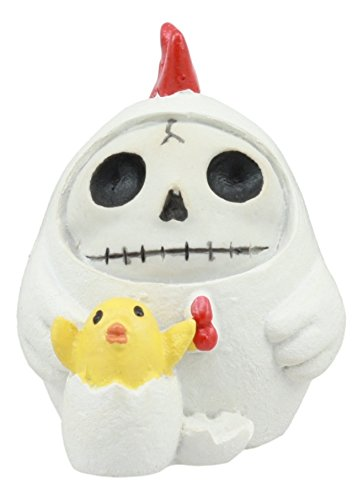 Ebros Furry Bones The White Hen Chicken Nugget Costumed Skeleton Figurine Small Furrybones Chicken With Hatching Chick Collectible Sculpture (Fancy Nugget)