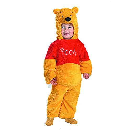 Bear Costume Sale Suit (Winnie The Pooh Deluxe 2-Sided Plush Jumpsuit Costume - Medium)