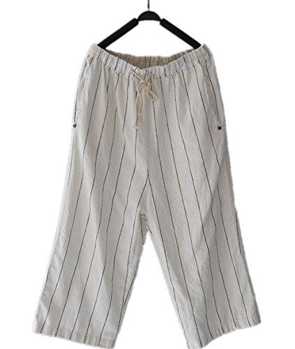 Linen Striped Drawstring Pants - 7
