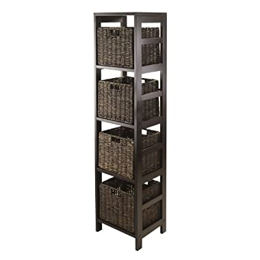 Winsome Granville 5-Piece Storage Tower Shelf with 4 Foldable Baskets, Espresso