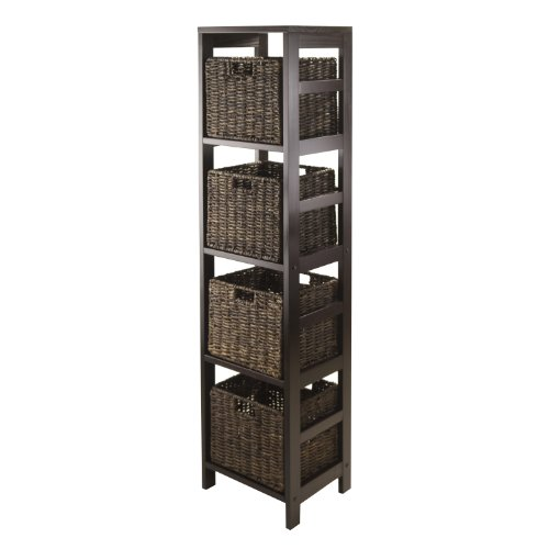 Winsome Granville 5-Piece Storage Tower Shelf with 4 Foldable Baskets, Espresso by Winsome