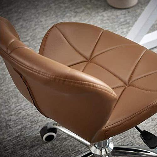 DBL Ergonomiska justerbara hemstolar, svängbara PU-läder middag dator kontor skrivbord krom nylon ben stol kontorsstol skrivbordsstolar (storlek: Brun)