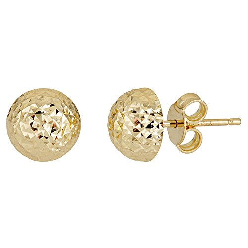 14K Yellow Gold Diamond Cut 8.00mm Half Ball Stud Earring by Decadence