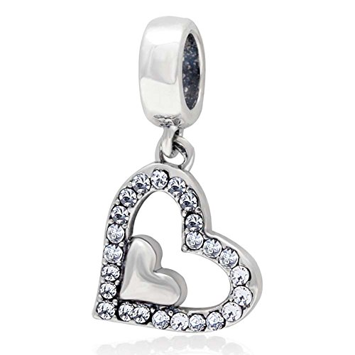 Heart Charm with Crystal Charm 925 Sterling Silver Dangle Charm Love Charm for Bracelet -