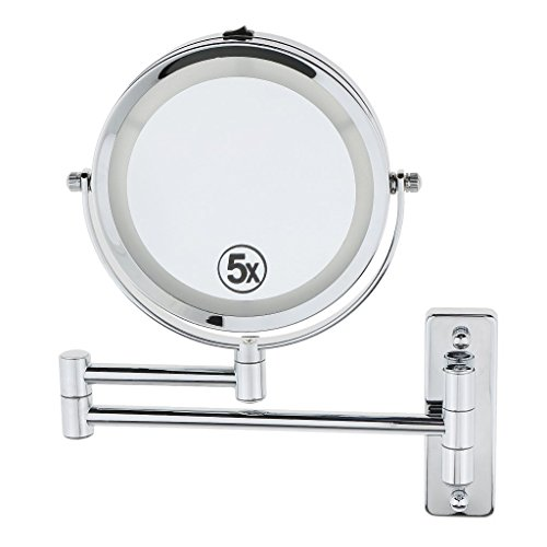 6inch Round Shaped Two-Sided LED Lighted Makeup Mirror, 1x/5x Magnification, Extendable Wall Mounted, 360-Degree Swivel for Bathroom Makeup Shaving , Polished Chrome Finish