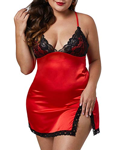 XAKALAKA Women Plus Size Lace V Neck Satin Chemise Back Crisscross Lingerie Babydoll Red XL