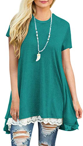 Womens Plus Size Short Sleeve A-Line Flowy Tunic Tops Lace Trim Shirt Blouse X-Large Green