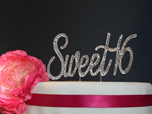 Sweet-16-Cake-Topper-Premium-Crystal-Rhinestones-Monogram-Number-Sixteen-16th-Birthday-Party-Decoration-Crystals-Securely-Attached-Perfect-Keepsake-Sweet-16-Silver