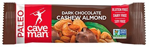 Caveman Foods Paleo-Friendly Nutrition Bar, Dark Chocolate Cashew Almond, 12 Count Dark Chocolate Cashew