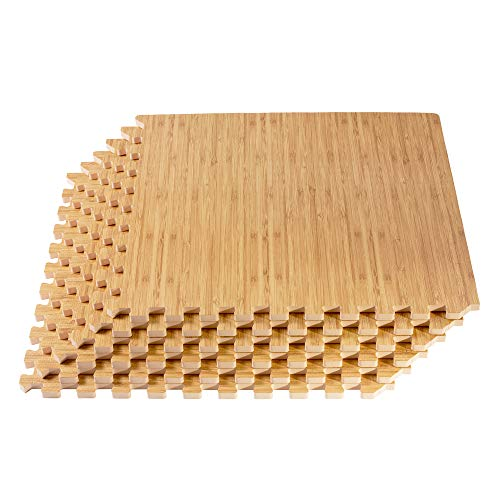 Forest Floor 5/8-inch Thick 100 Sq Ft (25 Tiles) Light Bamboo Interlocking Foam Floor Mats