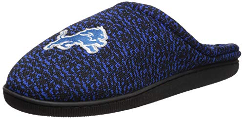FOCO NFL Detroit Lions Men's Poly Knit Cup Sole Slipper, Team Color, Medium -
