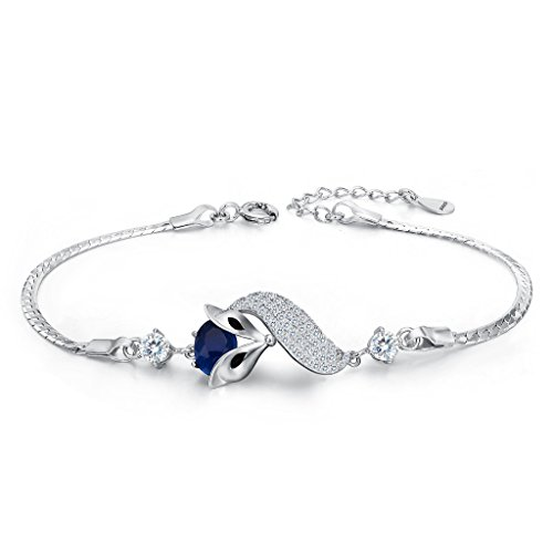 EleQueen 925 Sterling Silver Cubic Zirconia Lovely Fox Leaf Bracelet Chain Sapphire Color