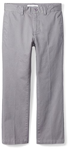 Amazon Essentials Little Boys' Straight Leg Flat Front Uniform Chino Pant, Gray,5 ()