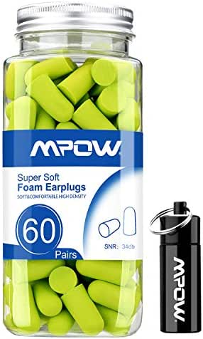 Mpow Foam Earplugs 60 Pairs with Aluminum Carry Case, 34dB SNR Ear Plugs, Soft Earplugs Noise Reduction for Hearing Protection, Hunting Season, Sleeping, Working, Shooting, Travel-Green