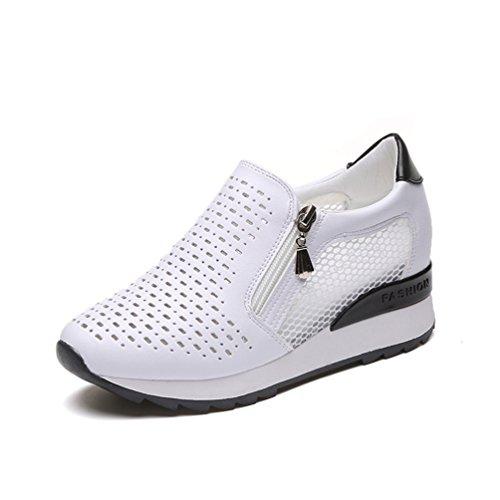 JRenok Femme Chaussure de Sport Basket Mode Loisir Mocassins Compensé Waliking Cuir Casuel Confort Sneaker Fermeture Eclair Noir 0uqoXGs