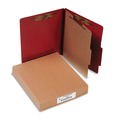 (ACCO 15034 Pressboard 25-Pt Classification Folders, Letter, 4-Section, Earth Red, 10/Box)