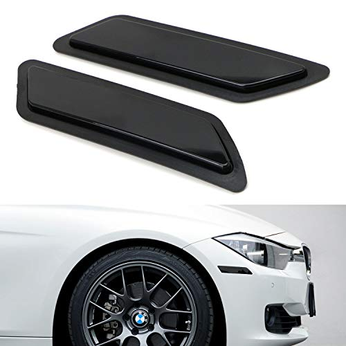 iJDMTOY Glossy Black Smoked Lens Front Bumper Side Markers For 2012-2015 BMW F30 F31 Pre-LCI 3 Series 328i 335i, Replace OEM Amber Reflector Assy (Side Front Marker 73 Lens)