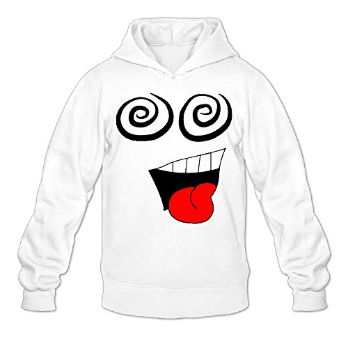 Funny Monster Face Classic Men's Hooded Sweatshirts White -