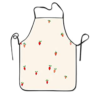 Strawberries Neck Bib Apron For Women And Men - Adjustable Neck Strap - Restaurant Home Kitchen Apron Bib For Cooking, Grill And Baking, Crafting, Gardening, BBQ