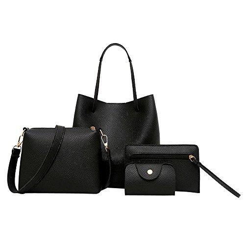 Conjunto de bolsos de cuero Fenebort para mujer, paquete incluye bandolera + bandolera + bolsa de mensajero + paquete de...
