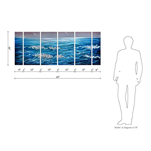 Pure Art Sapphire Blue Sea Ocean Waves Metal Wall Art Decor – Set of 6 Panels, Blue Nautical Beach, Large (65″ x 24″)