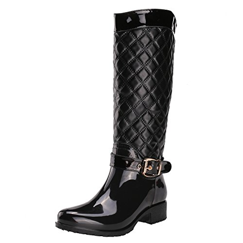 Image of Alexis Leroy Women Motorcycle Knee High Checkered Pattern Side Zip Rubber Rain Boots (38 EU / 7-7.5 US, Black)